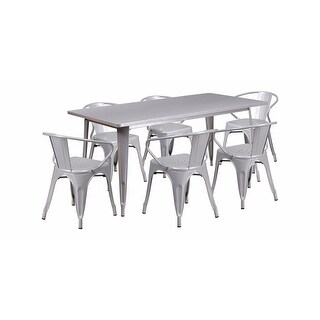"""Offex 31.5"""" x 63"""" Rectangular Silver Metal Indoor Table Set with 6 Arm Chairs [OF-ET-CT005-6-70-SIL-GG]"""