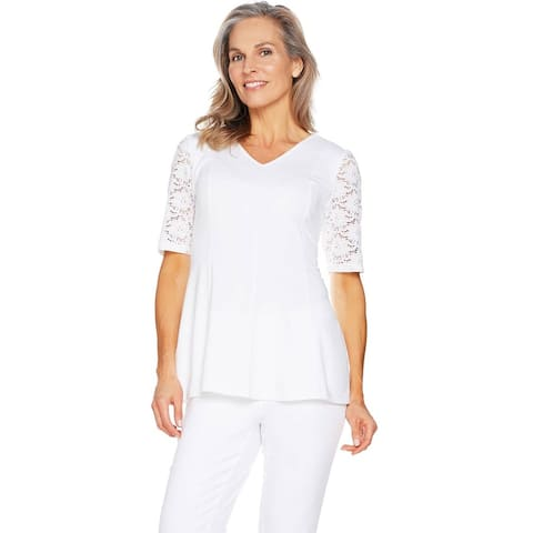 Denim & Co. Womens Fit & Flare Stretch Lace Elbow Sleeve Top 1X White A290115