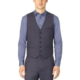Calvin Klein CK Vest Large L Castlerock Dark Blue Windowpane Button Front
