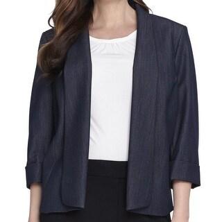Tahari By ASL Blue Women Size 18W Plus Three-Button Chambray Jacket