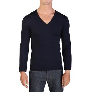 Prada Men's Wool V-Neck Sweater Navy