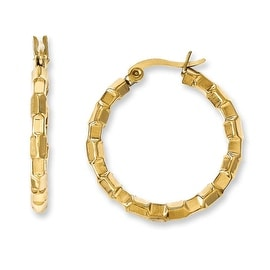 Chisel Stainless Steel Yellow IP-plated & Textured Hoop Earrings