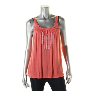 Love Tree Womens Casual Top Embroidered Keyhole - l