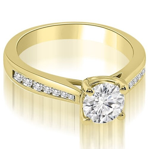 0.95 cttw. 14K Yellow Gold Cathedral Channel Set Round Diamond Engagement Ring