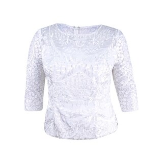 Alex Evenings Women's Petite Embroidered Blouse (PXL, Ivory) - ivory - pxl