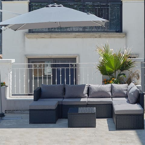 Outdoor Patio Sofa Set with Modern Rattan Wicker, Perfect for Garden