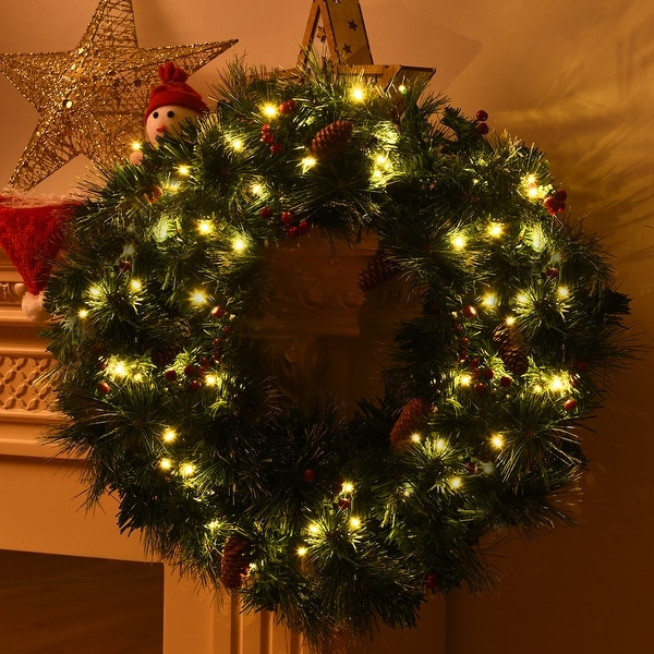 """24/"""" Pre-Lit Artificial Spruce Christmas Wreath Pinecone Red Berries with Timer"""