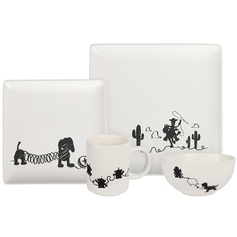 Toy Story 4-Piece Ceramic Dinnerware Set With Scribble Characters - White
