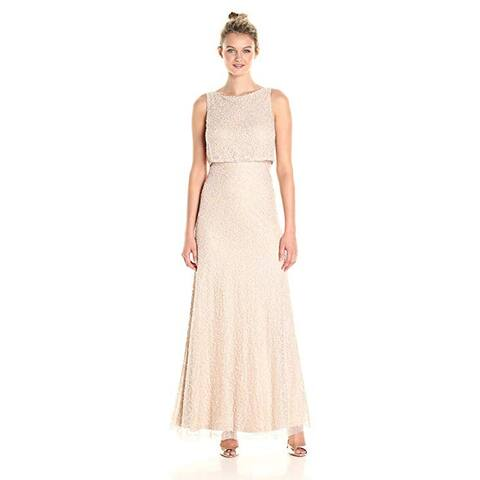 Adrianna Papell Beaded Lace Popover Gown, Coral/Nude, 6