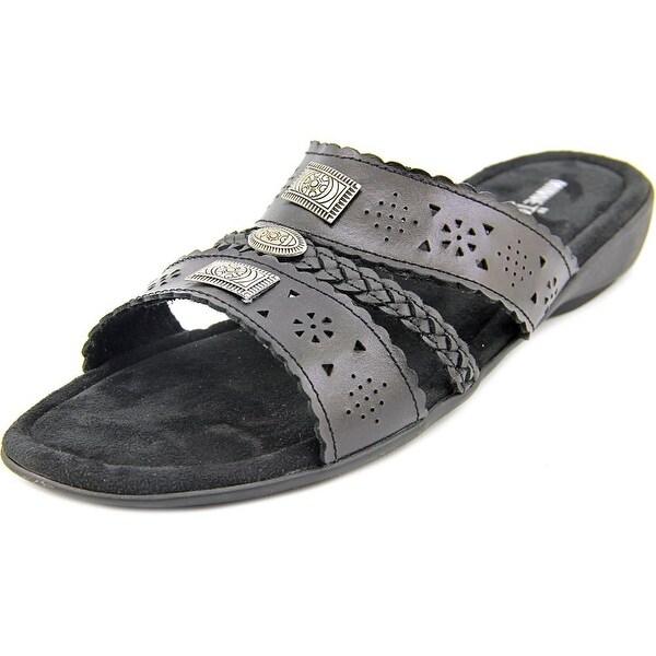 0b026be6c14e4 Shop Minnetonka Gayle Women WW Open Toe Leather Black Slides Sandal ...