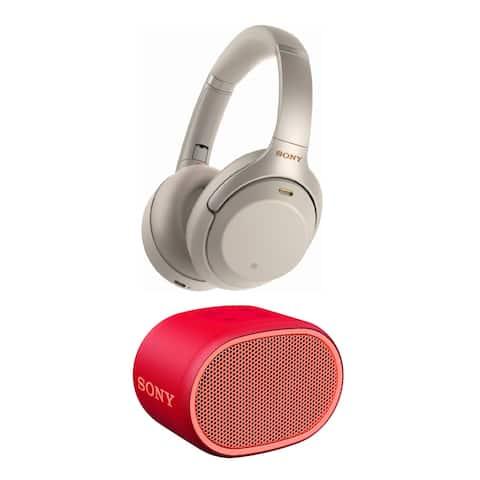 Sony WH-1000XM3 Wireless Headphones (Silver) with XB01 Speaker