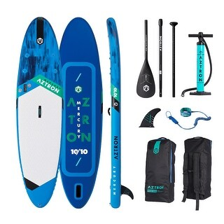 "Aztron MERCURY 10'10"" Double Chamber Inflatable Stand Up Paddle SUP Board with Adjustable Paddle, Bag, Pump and Leas"