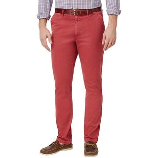 Club Room Slim Fit Rosetta Red Stretch Flat Front Chinos Pants 34W x 32L