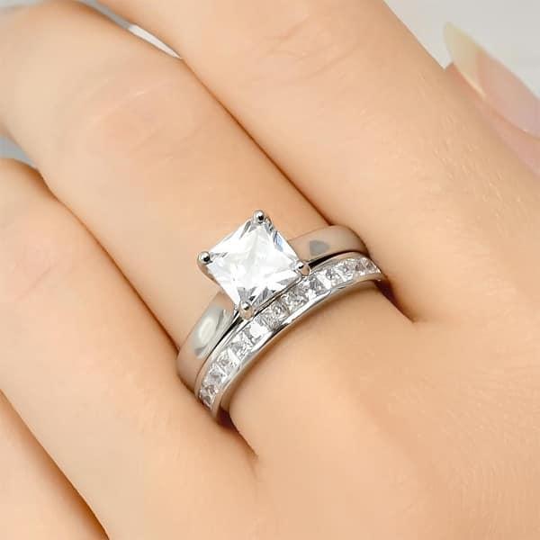 3 0 Carat Princess Cut Wedding Band Engagement Ring Set Bridal Silver Overstock 29774401