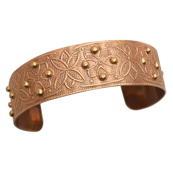 "Women's Chic Copper-Washed Cuff Bracelet - Beaded Floral - Metal - 1"" Wide"
