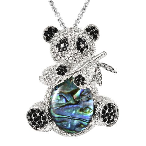 Shop LC Black White Crystal Pendant Necklace Jewelry Gift Size 24 In - Necklace 24'' Size (24''