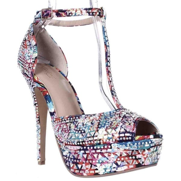 TS35 Flor Rhinestone Peep Toe Platform Dress Sandals, Pink Multi