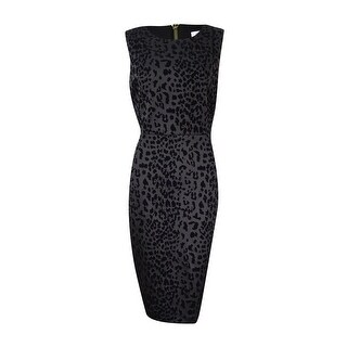 Calvin Klein Women's Flocked Animal-Print Sheath Dress