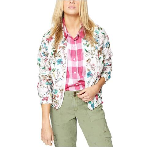 Sanctuary Women's in Bloom Cotton Floral-Print Bomber Jacket, White, S