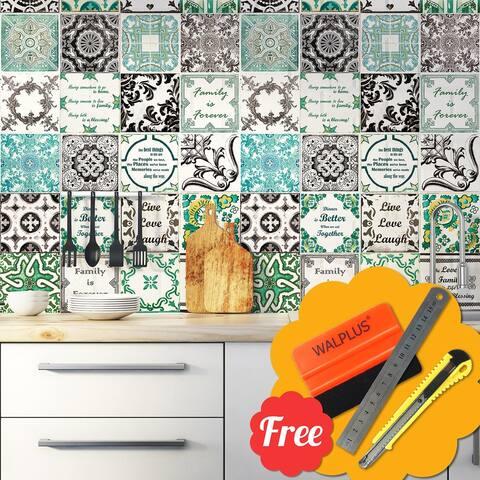 """Walplus English Mix French Mosaic Tile Stickers Peel and Stick Wall Stickers 48pcs 6""""x6"""""""