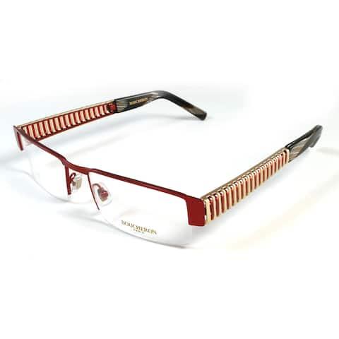 Boucheron Unisex Slim Rectangular Eyeglasses Red/Gold - Black - S