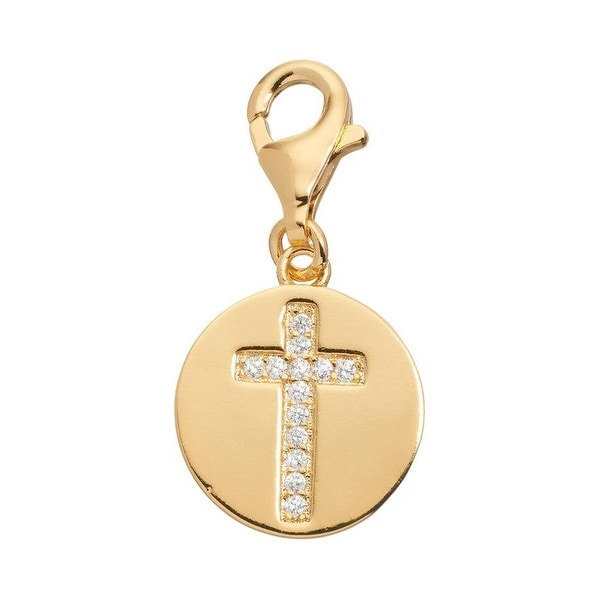 Julieta Jewelry Cross Disc CZ Clip-On Charm