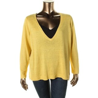 Eileen Fisher Womens Plus Linen Boxy V-Neck Sweater - 1X