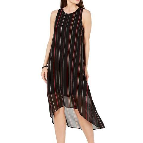 Alfani Womens Maxi Dress Black Size 16 Striped High Low Scoop Neck