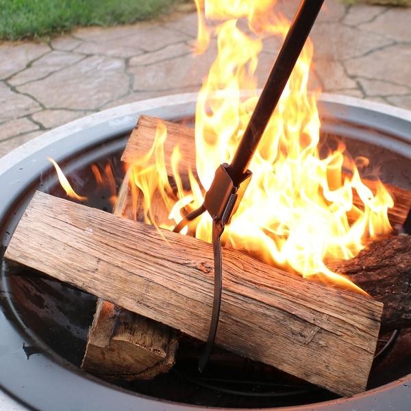 Sunnydaze Black Heavy-Duty Spring-Loaded Firewood Log Grabber Claw - 36-Inch
