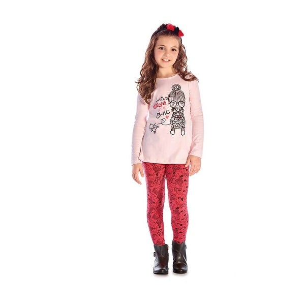 Girl Outfit Long Sleeve Shirt Graphic Tee and Legging Set Pulla Bulla 2-10 Years
