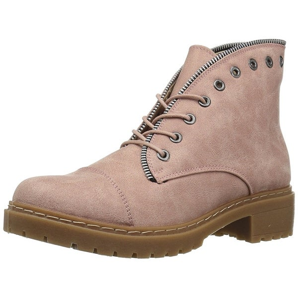 Qupid Womens Postal-01A Closed Toe Ankle Fashion Boots, Taupe, Size 7.5