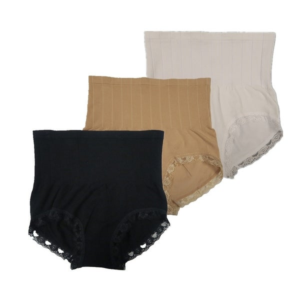 Women 3 Pack Seamless High Cut Lace Trim Shapewear Control Briefs Panties
