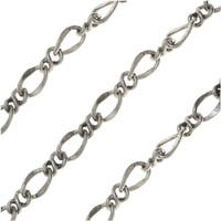 Antiqued Silver Plated Bulk Chain, 6 & 5mm Figaro Links, Sold By The Foot
