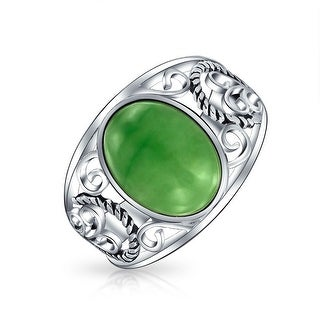 Oval Dyed Green Jade Rope Scroll Filigree Band Ring Sterling Silver