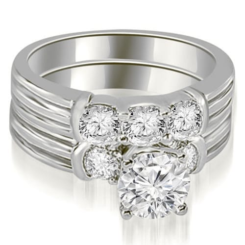 1.75 cttw. 14K White Gold Prong Set Round Cut Diamond Bridal Set