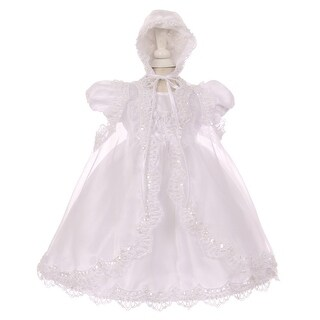 Baby Girls White Sequin Pearl Baptism Christening Cape Bonnet Dress Set
