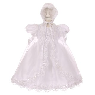 Little Girls White Sequin Pearl Baptism Christening Cape Bonnet Dress Set