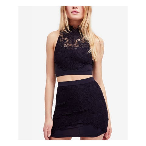 FREE PEOPLE Womens Black Crop Top Micro Mini Party Skirt Suit Size L