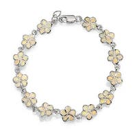 Flower Lab Created White Opal Inlay Bracelet 925 Silver 7.5in