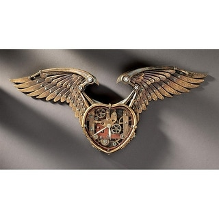 Design Toscano Steampunk Winged Heart Sculptural Wall Clock