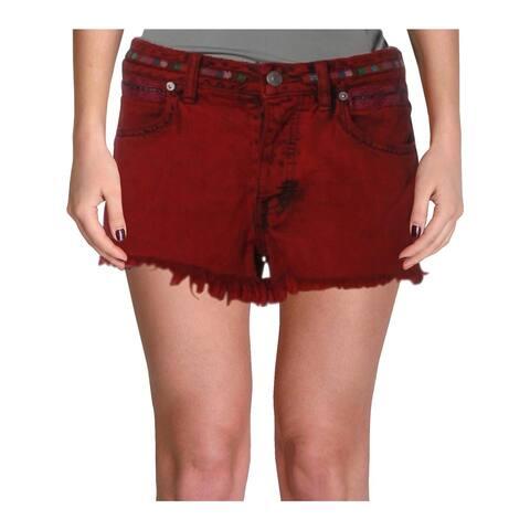 Free People Womens Sun Break Cutoff Shorts Embroidered Frayed Hem