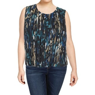Calvin Klein Womens Petites Roadmap Casual Top Printed Pleated