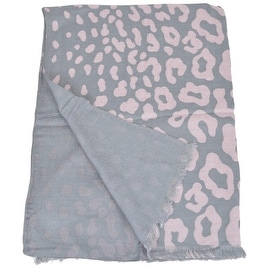 New Gucci Women's 325338 Light Grey and Pink Cheetah GG Guccissima Modal Scarf