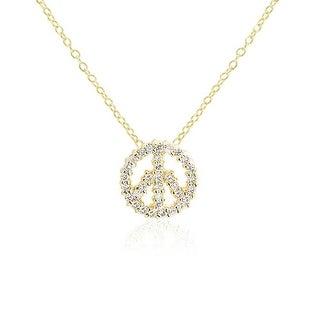 Minimalist Pave CZ Peace Sign Pendant Necklace 14K Gold Plated