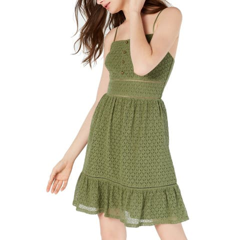 City Studio Dress Olive Green Size 0 Junior Shift Button Front Textured