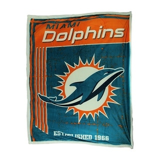 Miami Dolphins Super Soft Sherpa Style Throw Blanket Teal 0 25 X 60 X 50 Inches