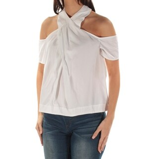 Womens White Short Sleeve Halter Casual Top Size 4