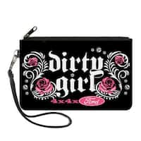 Floral Dirty Girl 4X4Xford Black White Pink Canvas Zipper Wallet