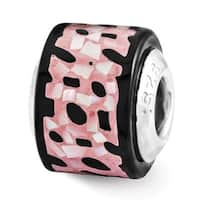 Sterling Silver Reflections Black/Pink Mother of Pearl Mosaic Bead