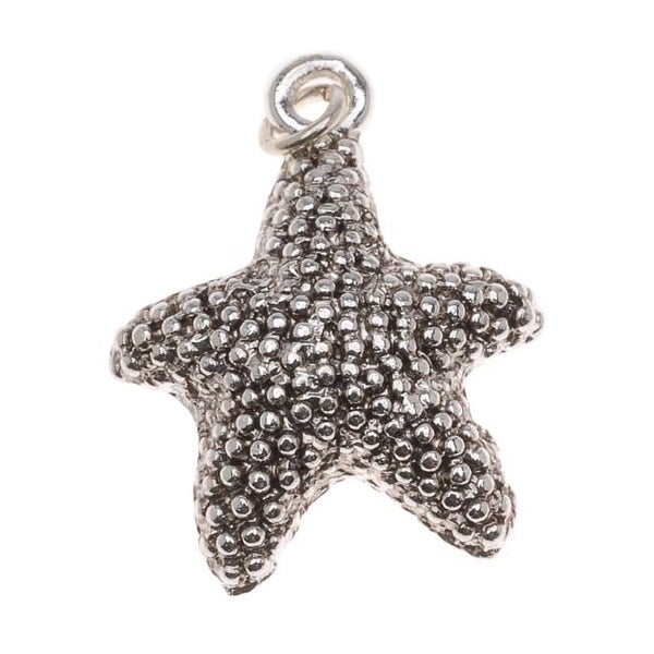 Antiqued Silver Plated Textured Starfish Charm 21mm (1)